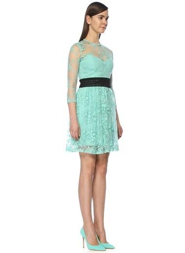 Floor Truvakar Kol Şifon Çiçekli Kısa Elbise Yeşil